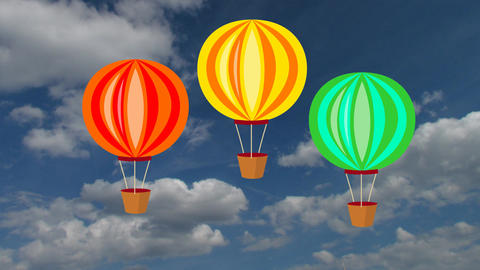 Air balloons on blue sky with white clouds, animation on photo background GIF