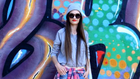 Teenage girl on the street Footage