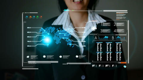Business woman using HUD user interface panel for cyber and futuristic technology concept with dark GIF