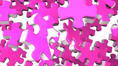 Pink Jigsaw Puzzle On White Background Animation