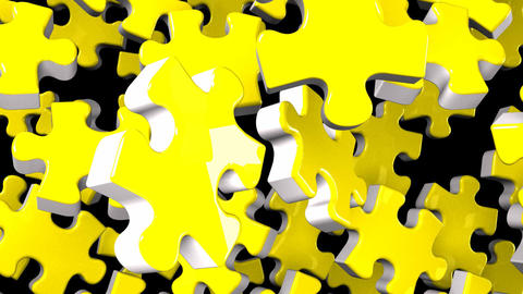 Yellow Jigsaw Puzzle On Black Background CG動画