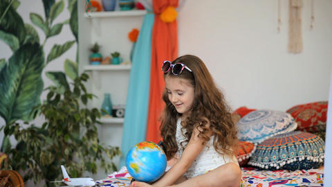 girl with globe Footage