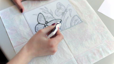 Drawing with enamel on glass Archivo