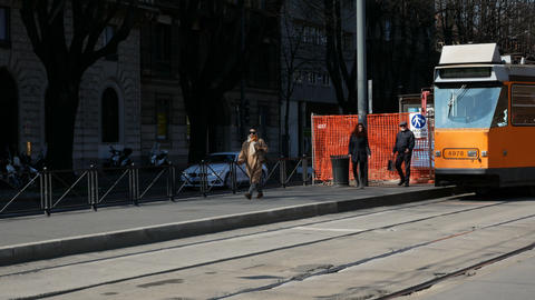 Tramway in Milan, Italy Live Action
