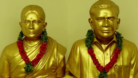 Closeup Statue Of A Golden Face Statue, Asia-India Live Action