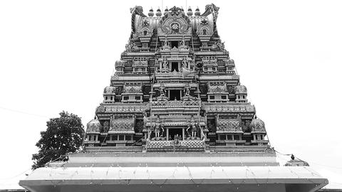Exterior Traditional Hindu temple, Black and white Footage