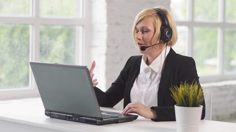 Working Place of Call Center Operator Footage