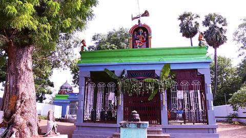 Panning Exterior Shot Hindu temple, South India Footage