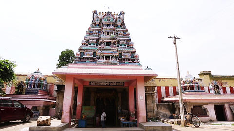 TIRUPPATUR, INDIA - FEBRUARY 22, 2016 Exterior Traditional Hindu temple India Footage
