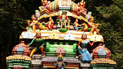Tilt up Exterior Shot Hindu temple, South India Footage