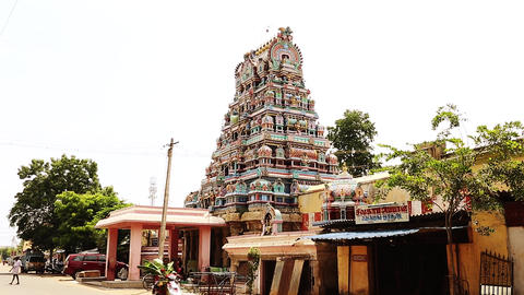 Zoom in - Exterior Traditional Hindu temple India Footage