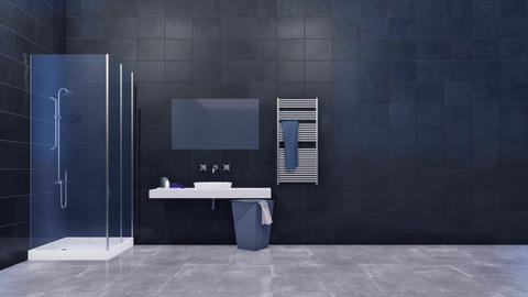 Bathroom interior with copy space dark tiled wall Footage