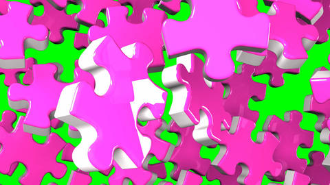Pink Jigsaw Puzzle On Green Chroma Key CG動画