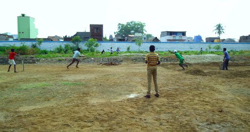 Young Boys Playing Cricket Footage