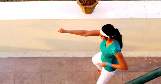young woman practicing on karate Footage