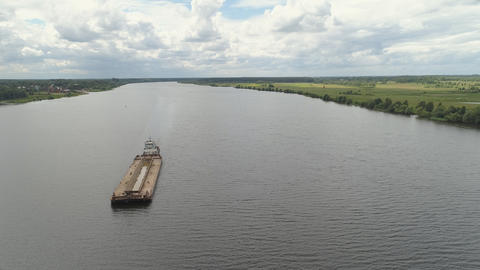 Barge on the river Volga フォト