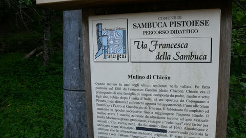Sign outside Chicon watermill, in Pavana, Italy Live Action