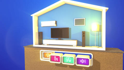 Section of Smart Home with four buttons Animation