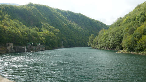 Basin of the dam of Pavana, Italy Live Action