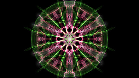 Green and purple mandala, fractal animation on black background, beautiful Animation