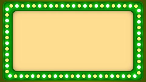 Flashing light bulbs green frame border screen sign casino background loop GIF