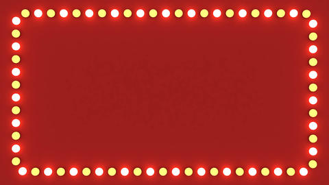 Flashing light bulbs red frame border screen sign surface casino background Animation