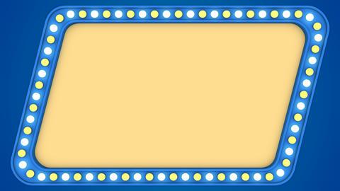 Flashing light bulbs blue vintage frame border screen sign quadrangular Animation