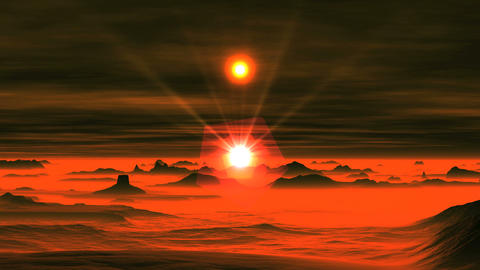 Two Suns over Alien Planet GIF