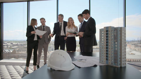 Business meeting of architects and investors Footage