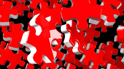 Red Jigsaw Puzzle On Black Background CG動画