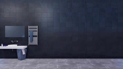 Bathroom interior with copy space on black tiled wall 3D Footage