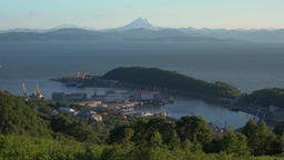 Summer top view of Petropavlovsk Seaport in Pacific Ocean. Time lapse Footage