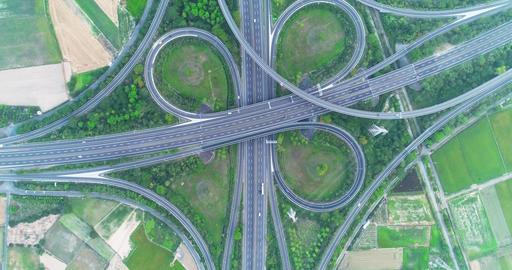 aerial view of highway interchange Live影片