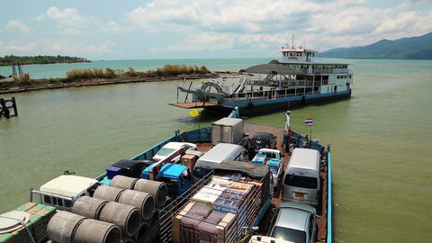 Ferry boat ready to sail to the Koh-Chang island, Gulf of Siam, Thailand Footage