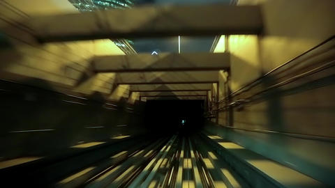 Train drives into tunnel Footage