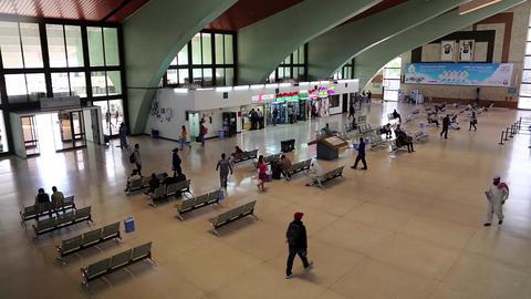 People inside bus station in Abu Dhabi, United Arab Emirates Footage