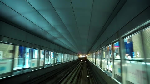 Train is approaching and enters into metro station, Dubai, United Arab Emirates Footage