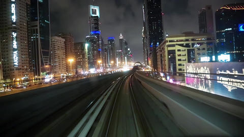 Journey on driverless, fully automated metro rail network, Dubai, UAE Footage
