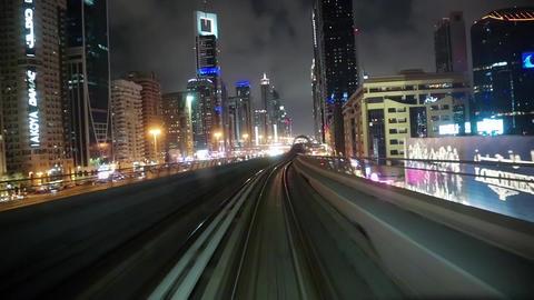 Journey on driverless, fully automated metro rail network, Dubai, UAE Footage