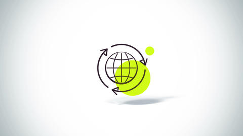 Arrows rotate with earth eco symbol flat animation Animation