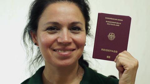 Woman Germany Passport Portrait Closeup Footage