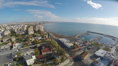 Amazing panoramic view over Larnaca city in Cyprus, beautiful landscape Footage