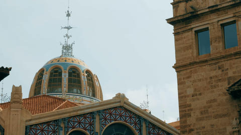 tracking shot on dome of the central market in Valencia, Spain GIF