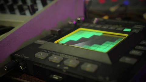 View on lighting equalizer panel with buttons, sound equipment at night club Footage