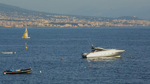 Beautiful white yacht floating in Gulf of Naples in Italy, luxury hobby, tourism Footage