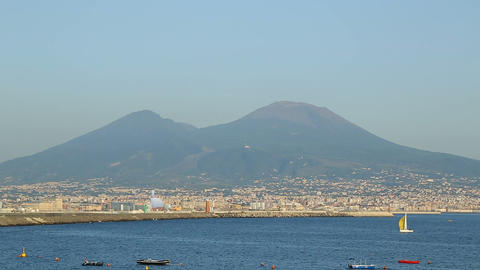 Stunning view on Vesuvius mount and Naples coastline, beautiful landscape Live Action