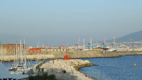Beautiful view of Port of Naples with industrial cranes, yachts and buildings 영상물