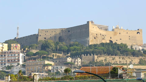 Gorgeous view on Castel Sant Elmo and embankment in Naples, tourism, sequence Footage