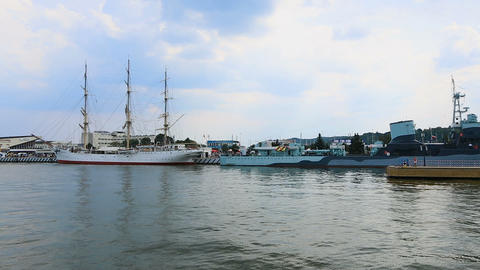 Big pleasure boats moored in Polish sea harbor, tourist transportation, sequence Footage