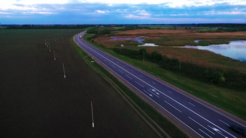 Highway, the movement of cars on the highway. Asphalt road in Russia, Krasnodar Footage